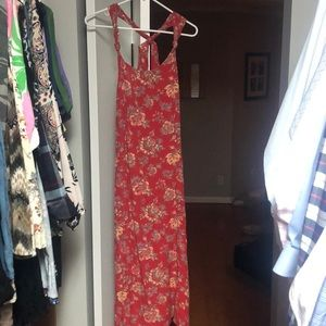 Long billabong dress with cross cross open back